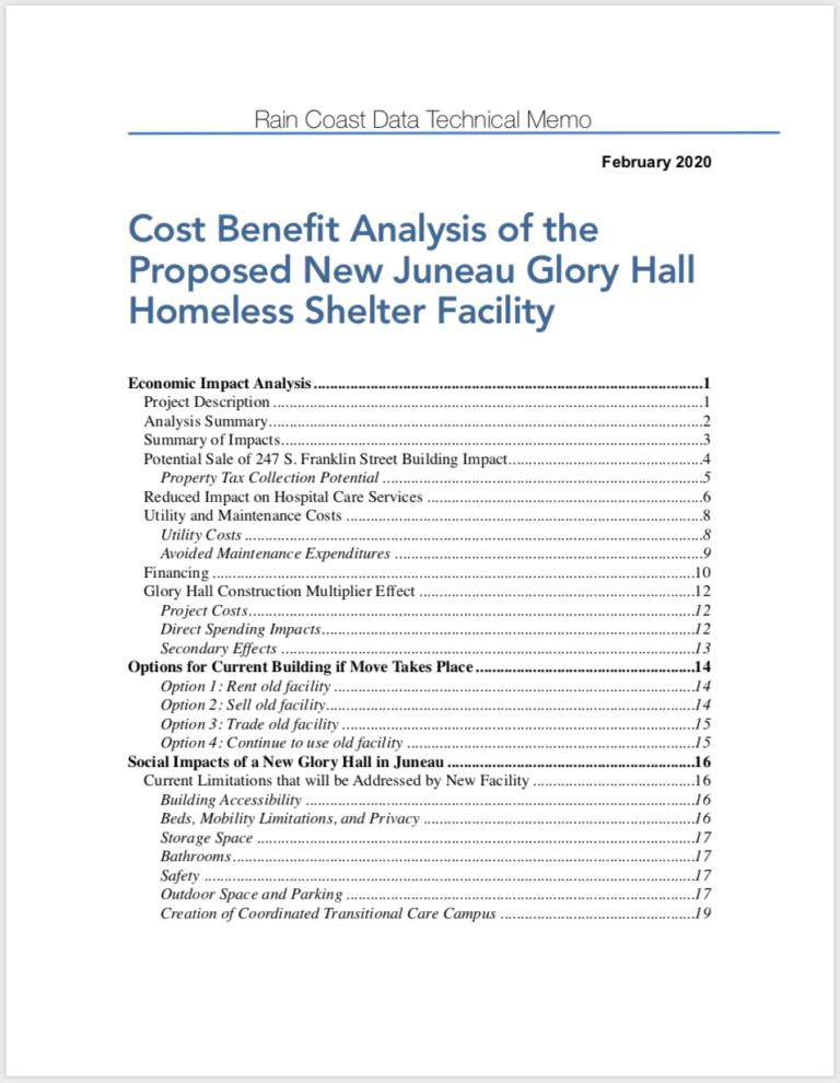 Cost Benefit Analysis of the Proposed New Juneau Glory Hall Homeless Shelter Facility